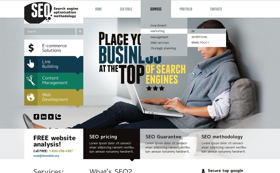 PSD Template over SEO Website New Screenshots BIG