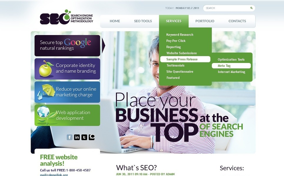 SEO weboldal  PSD sablon New Screenshots BIG