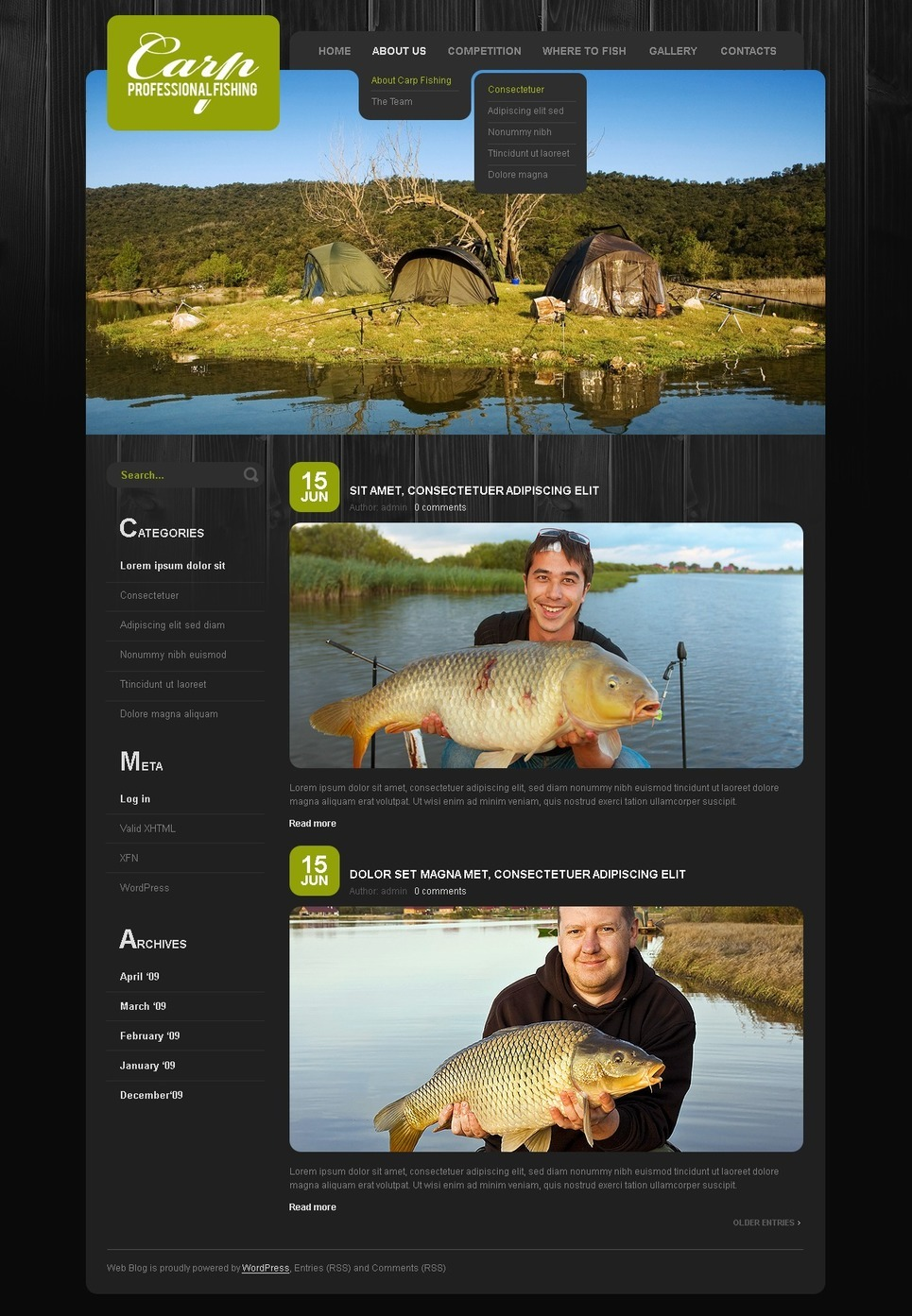 Fishing PSD Template New Screenshots BIG