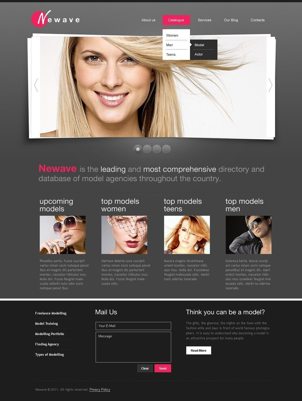 Model Agency PSD Template New Screenshots BIG