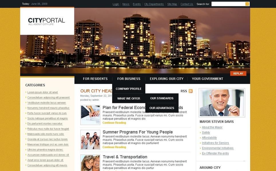 Modello PSD  #50003 per Un Sito di Portale Città New Screenshots BIG