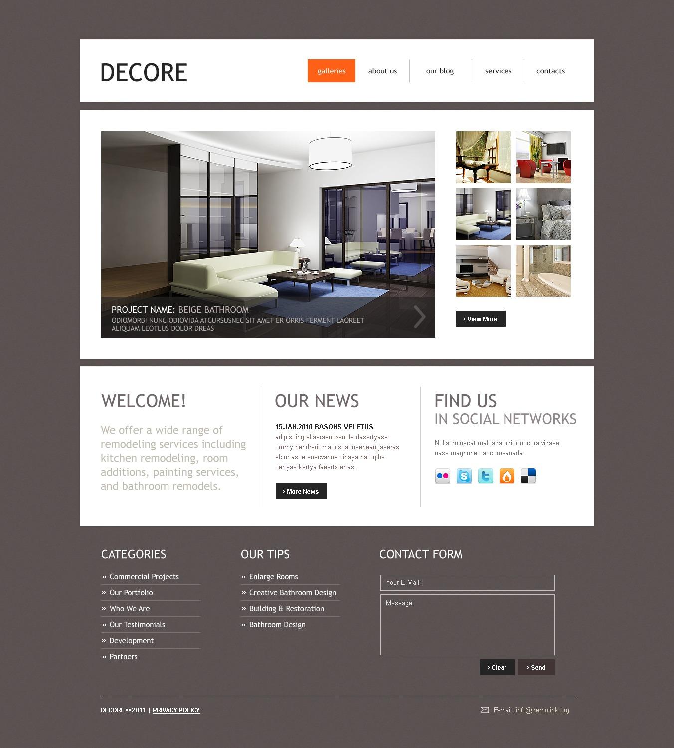 Tema psd 50083 per un sito di arredamento e design for Sito arredamento design