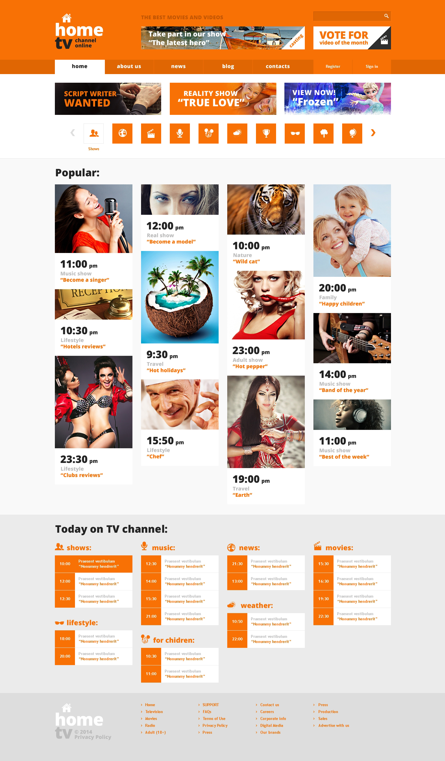 TV Channel Responsive Website Template