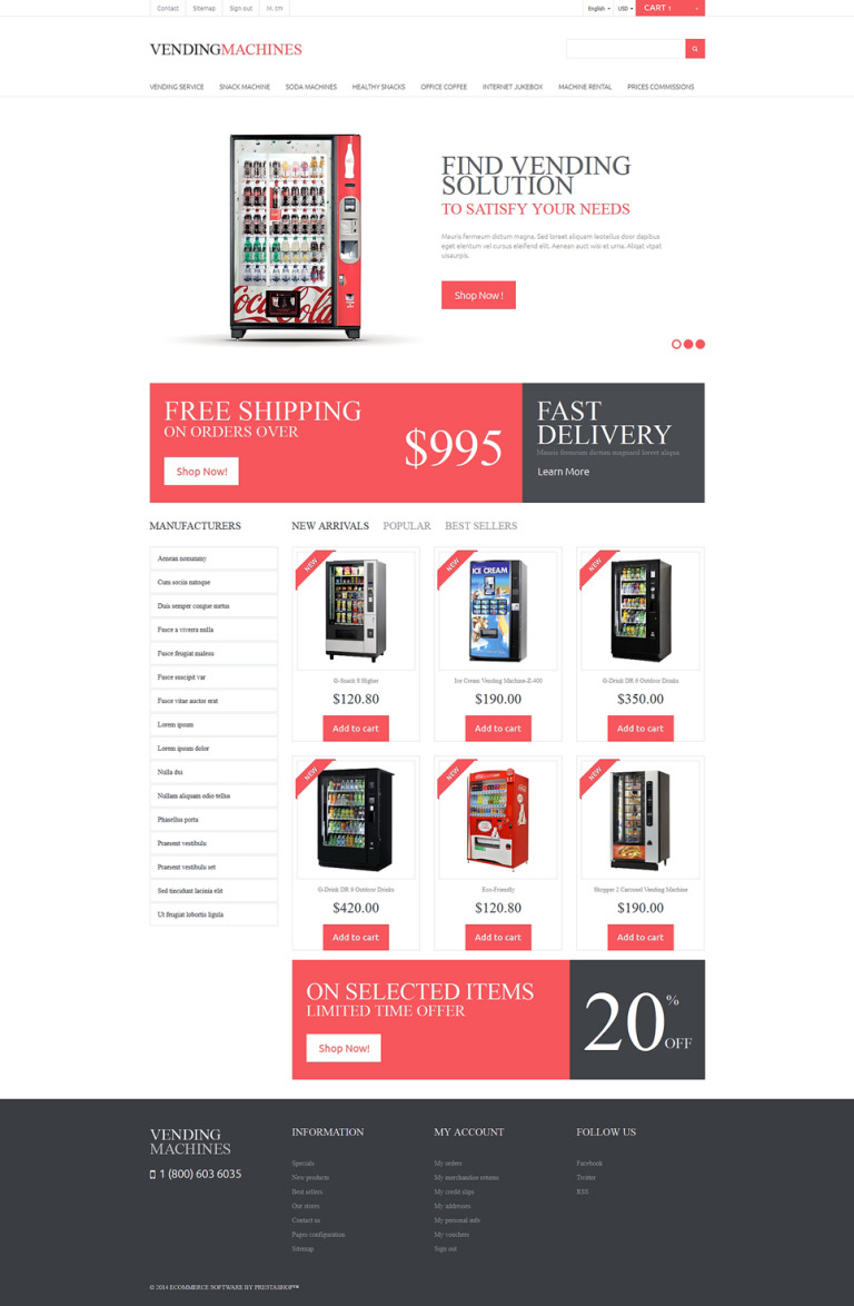 Vending Machines PrestaShop Theme New Screenshots BIG