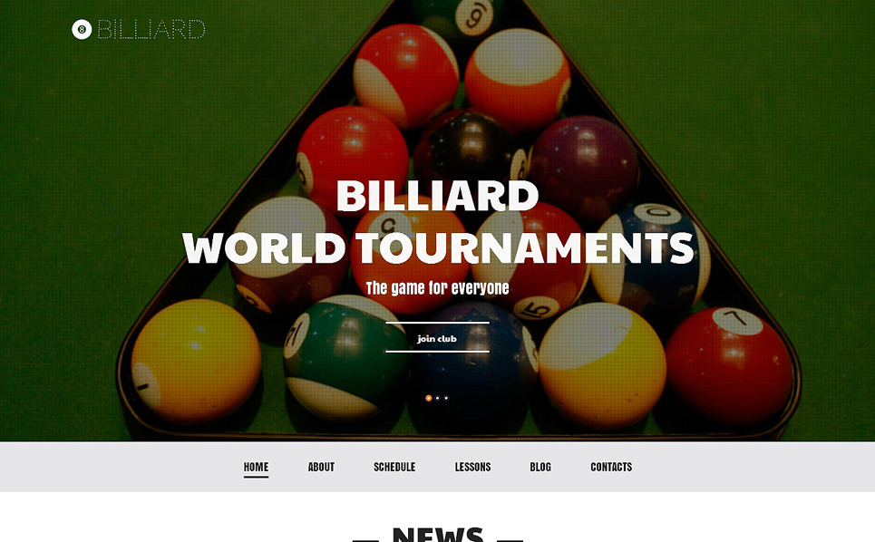 Responsives WordPress Theme für Billiard  New Screenshots BIG