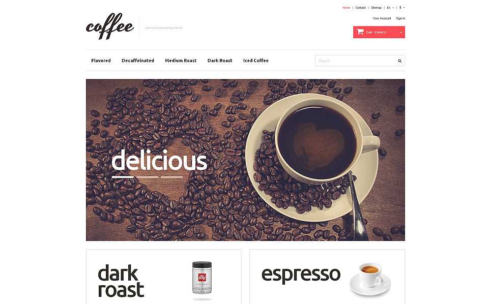 "PrestaShop Theme namens ""Kaffeeliebhaber "" New Screenshots BIG"