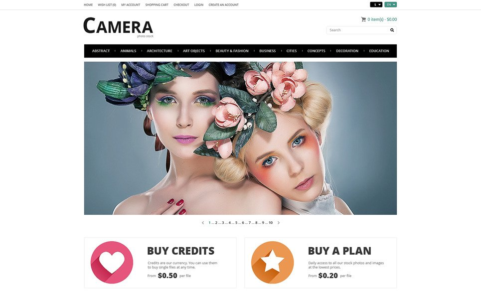 Template OpenCart Responsive #50116 per Un Sito di Foto Stock New Screenshots BIG