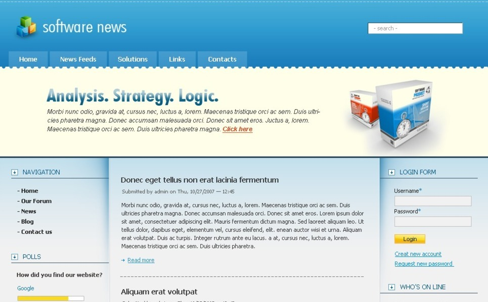 PSD шаблон на тему програмне забеспечення New Screenshots BIG
