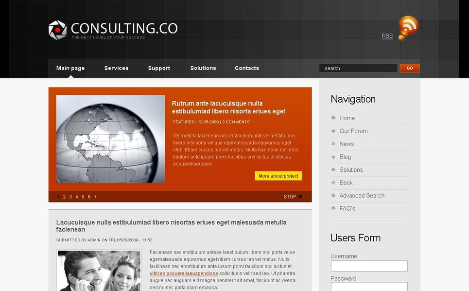 Szablon PSD #50190 na temat: usługi doradcze New Screenshots BIG