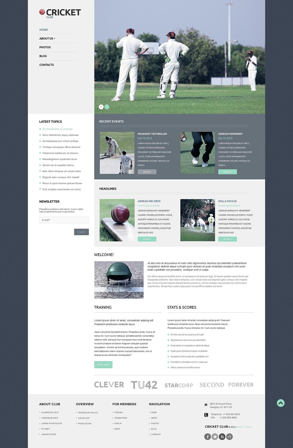 Адаптивный шаблон сайта на тему крикет #50121