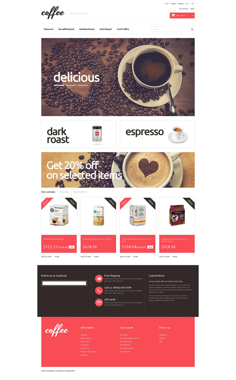 Coffee Maniacs PrestaShop Theme New Screenshots BIG