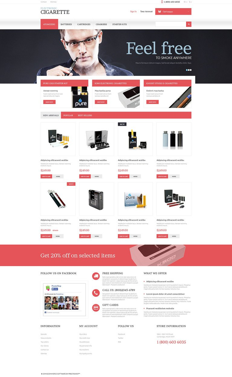 Electronic Cigarettes Store PrestaShop Theme New Screenshots BIG