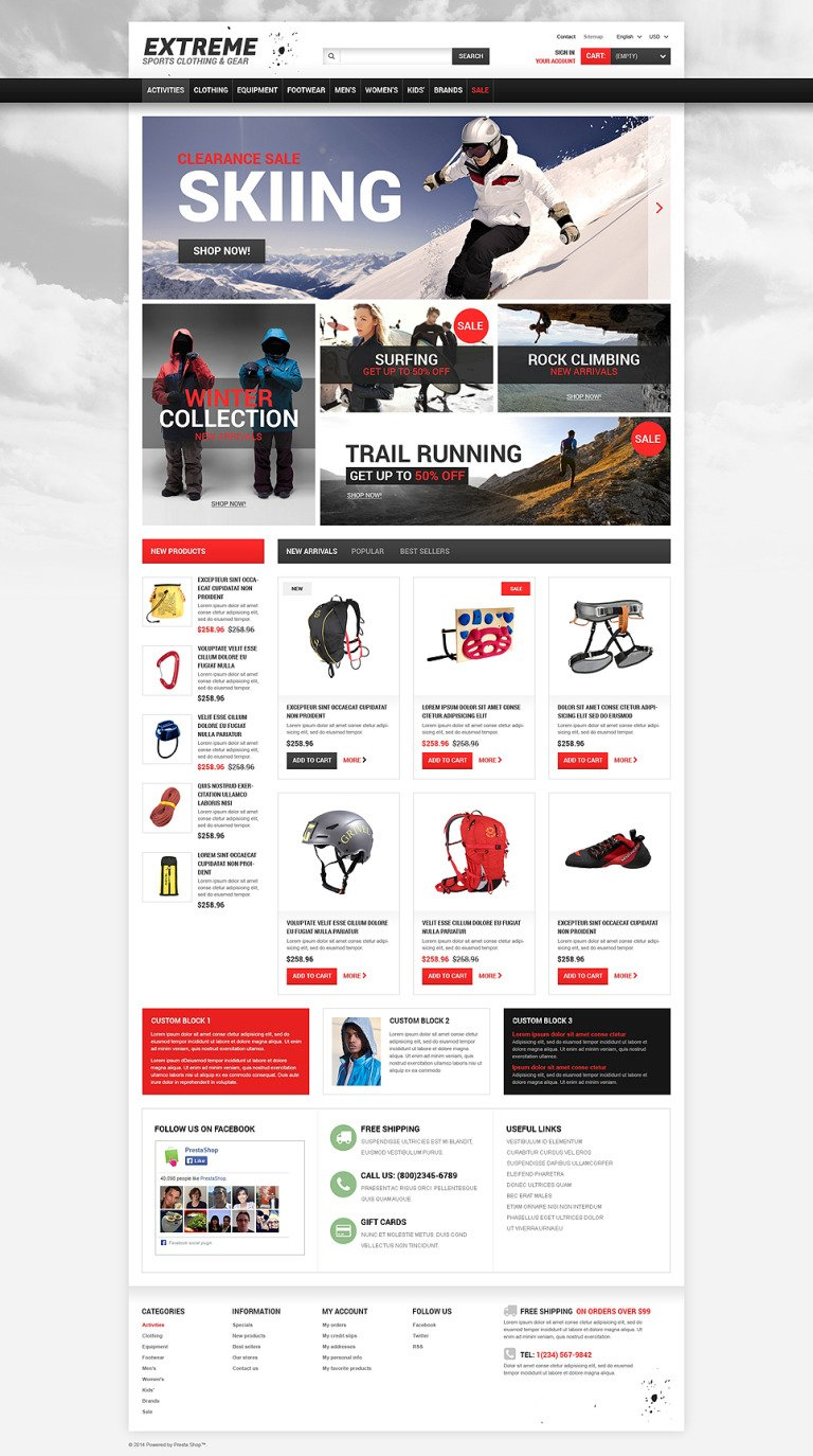 Extreme Sports Gear PrestaShop Theme New Screenshots BIG