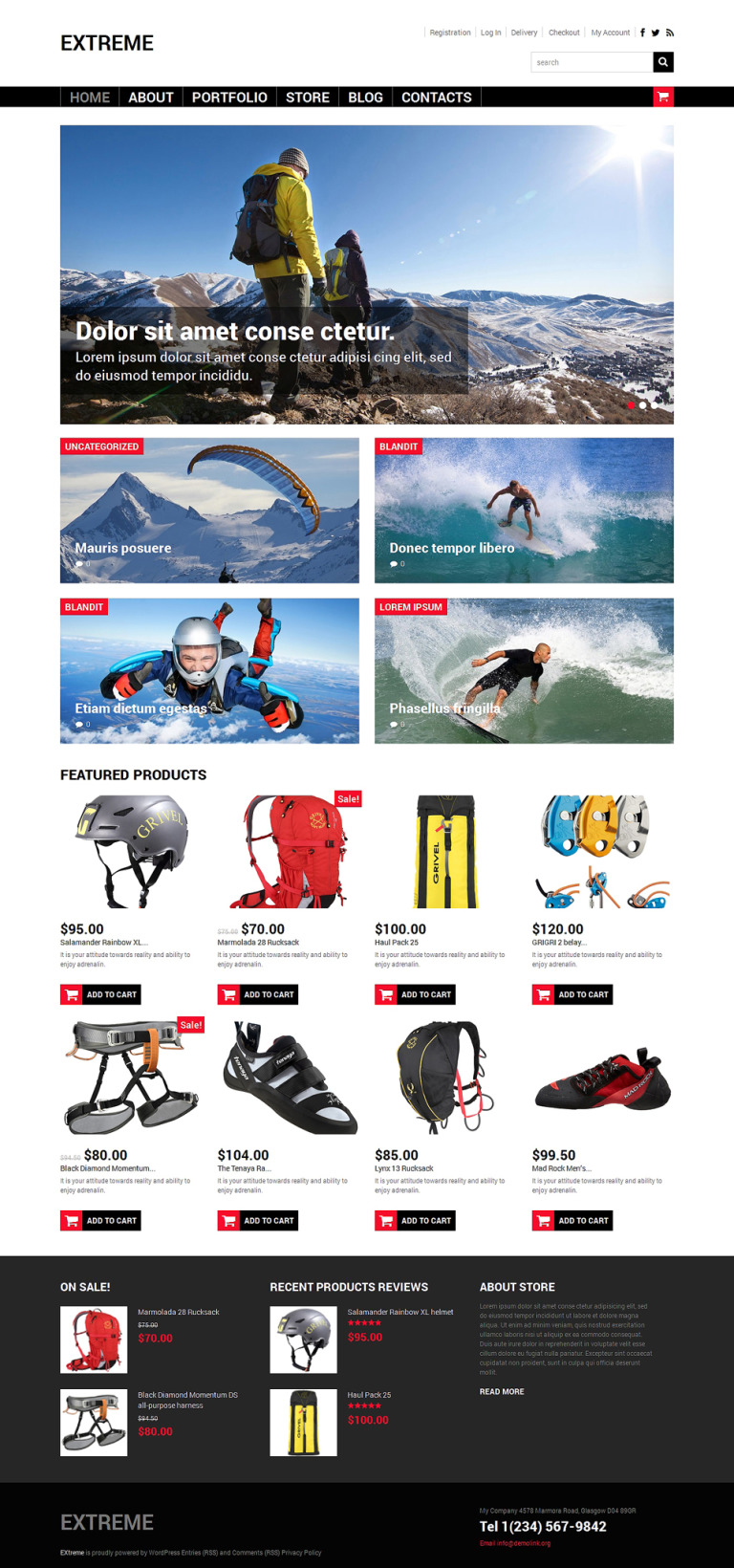 Extreme Sports Shop WooCommerce Theme New Screenshots BIG