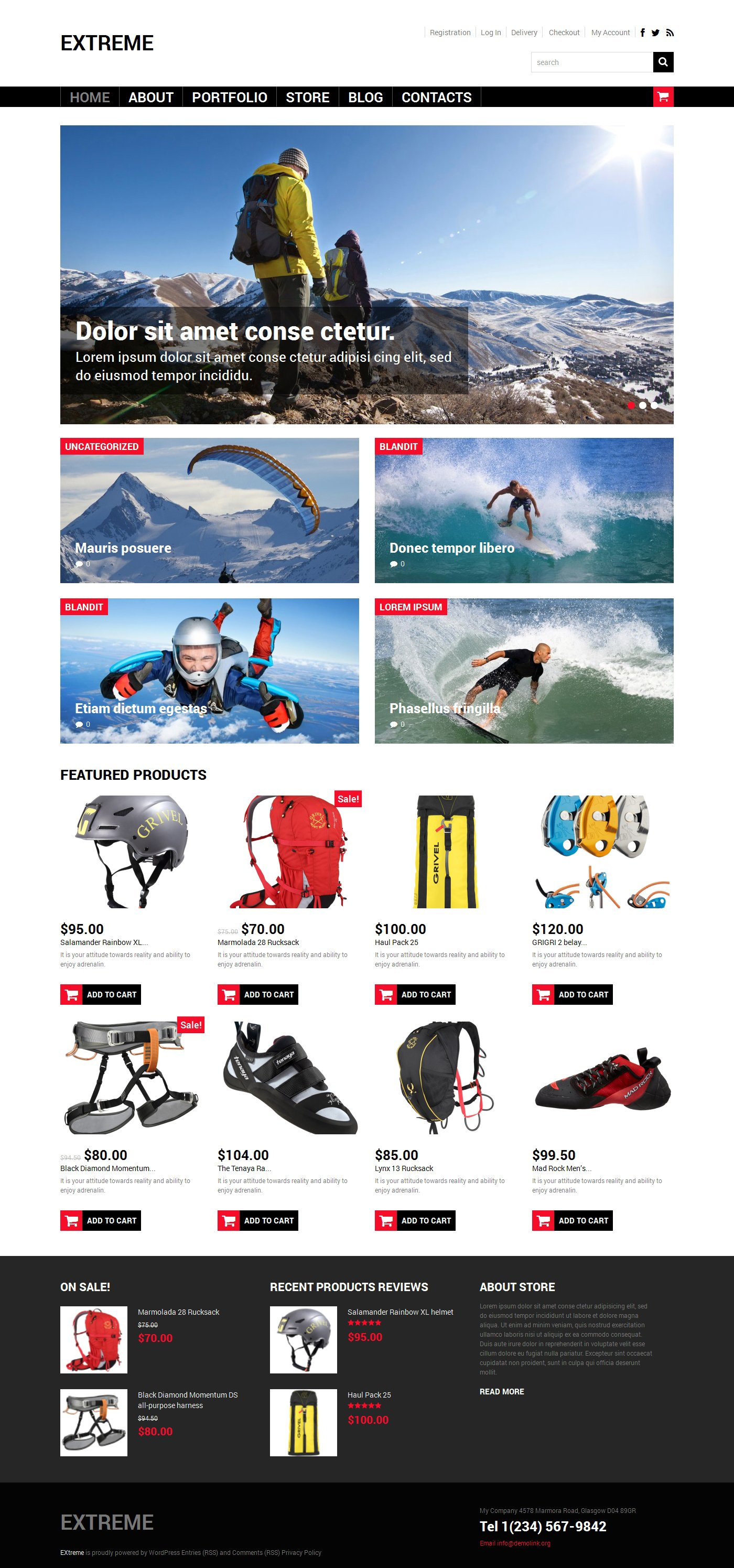 Extreme Sports Shop WooCommerce Theme - screenshot