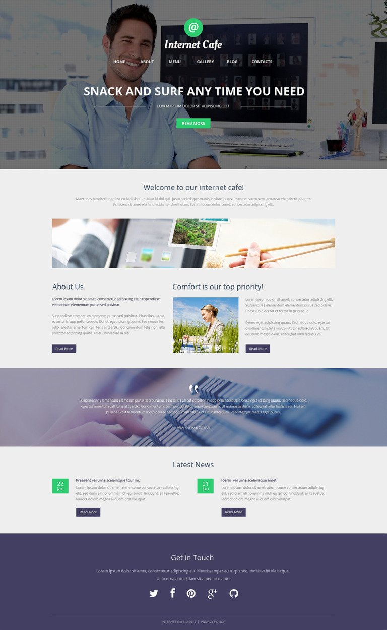 Internet Cafe WordPress Theme New Screenshots BIG