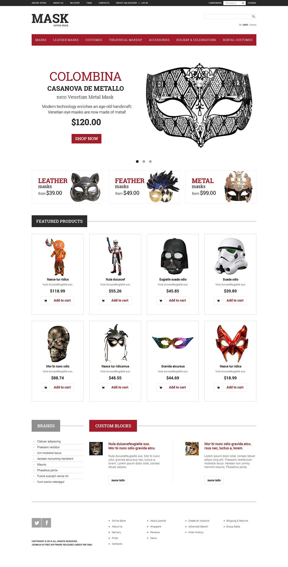 Masquerade Mask VirtueMart Template New Screenshots BIG