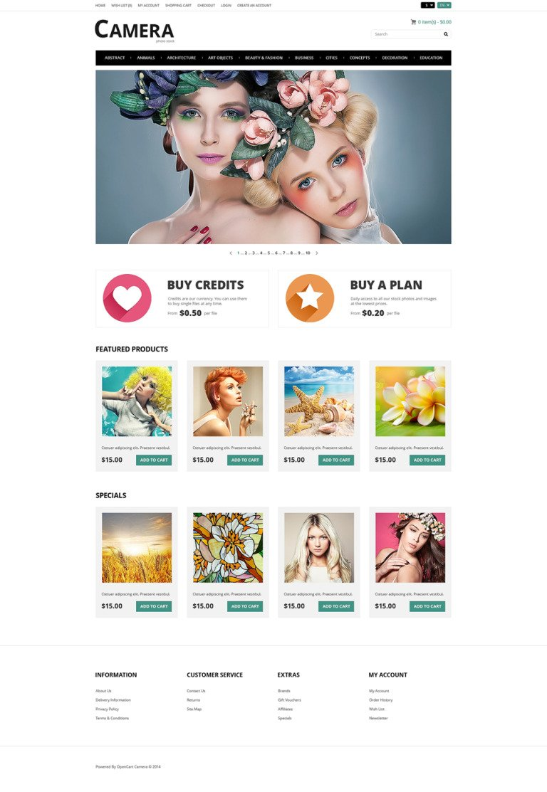 Photo Bank OpenCart Template New Screenshots BIG