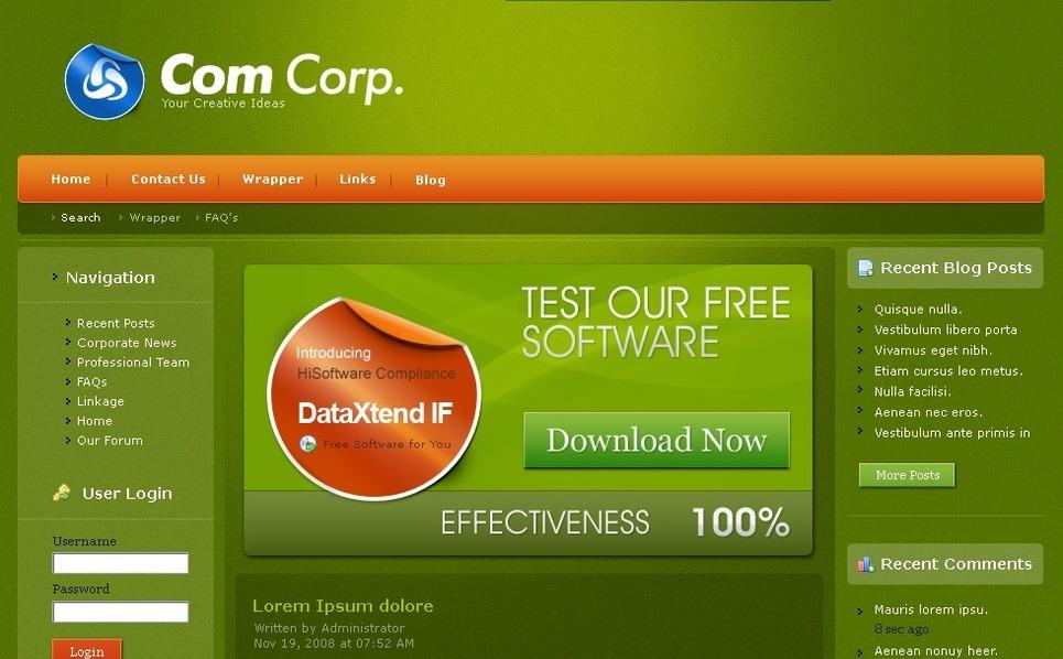 Plantilla PSD #50141 para Sitio de Empresa de software New Screenshots BIG