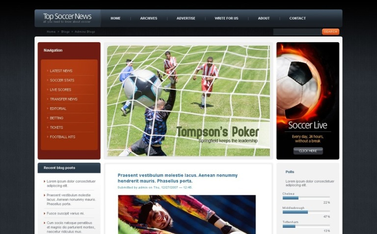 Plantilla PSD #50179 para Sitio de Fútbol