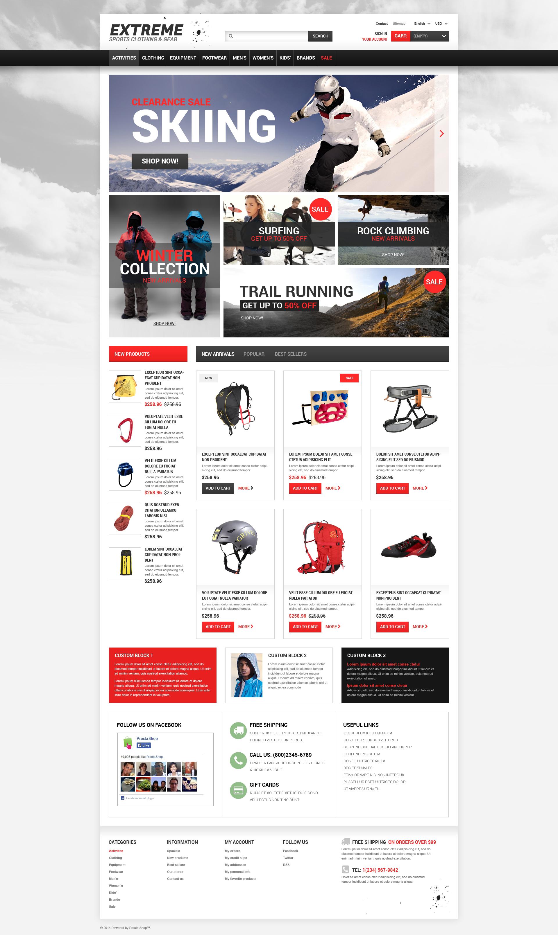 Reszponzív Extreme Sports Gear PrestaShop sablon 50127 - képernyőkép
