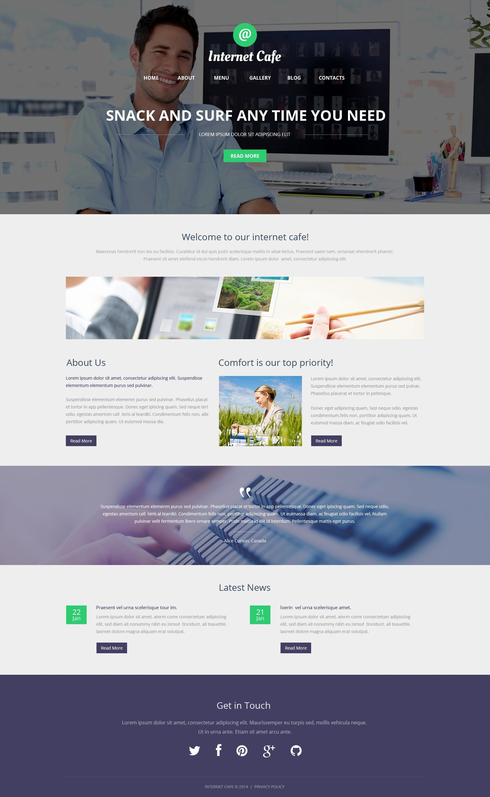 Reszponzív Internet Cafe WordPress sablon 50113 - képernyőkép