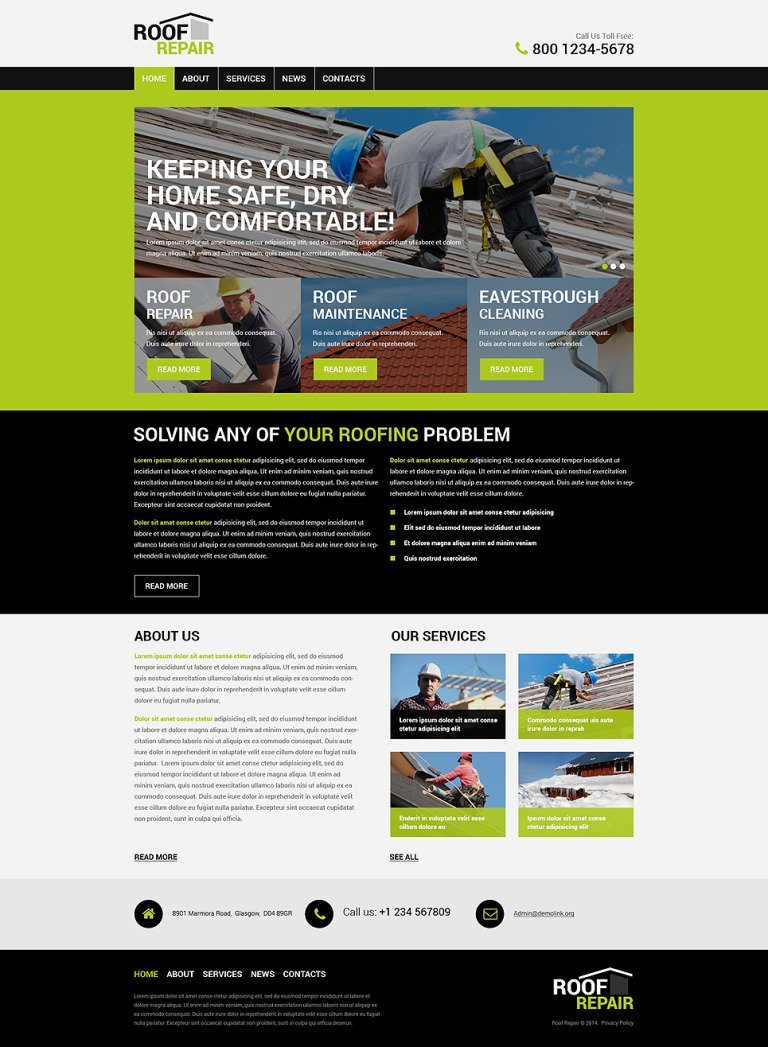 Roofing Company WordPress Theme New Screenshots BIG