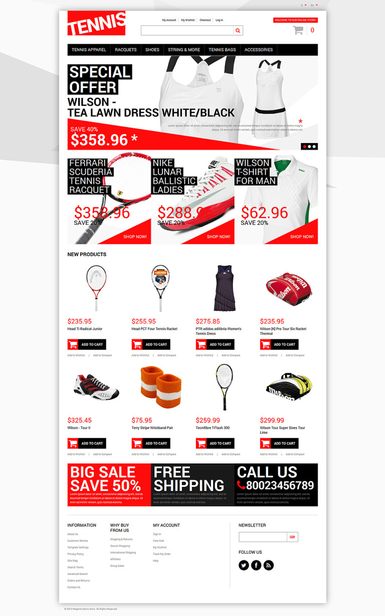 Tennis Dress Supplies Magento Theme New Screenshots BIG
