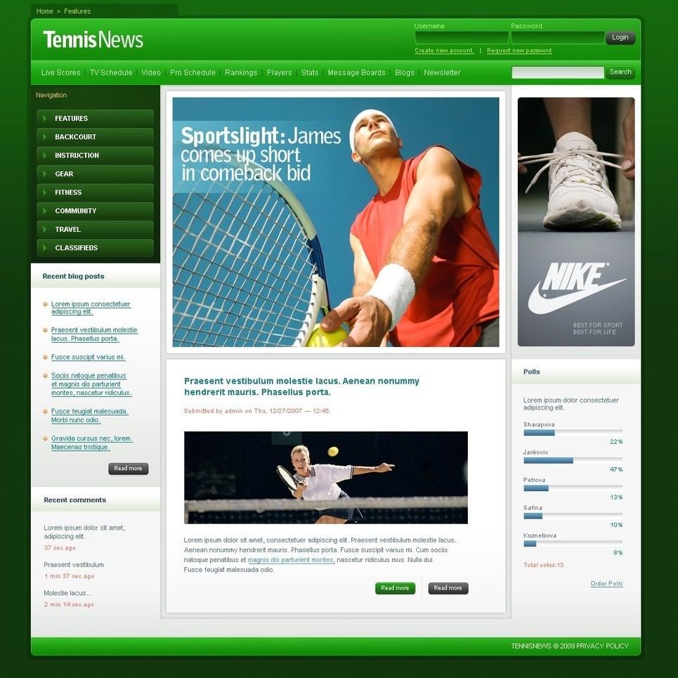 Tennis PSD Template New Screenshots BIG