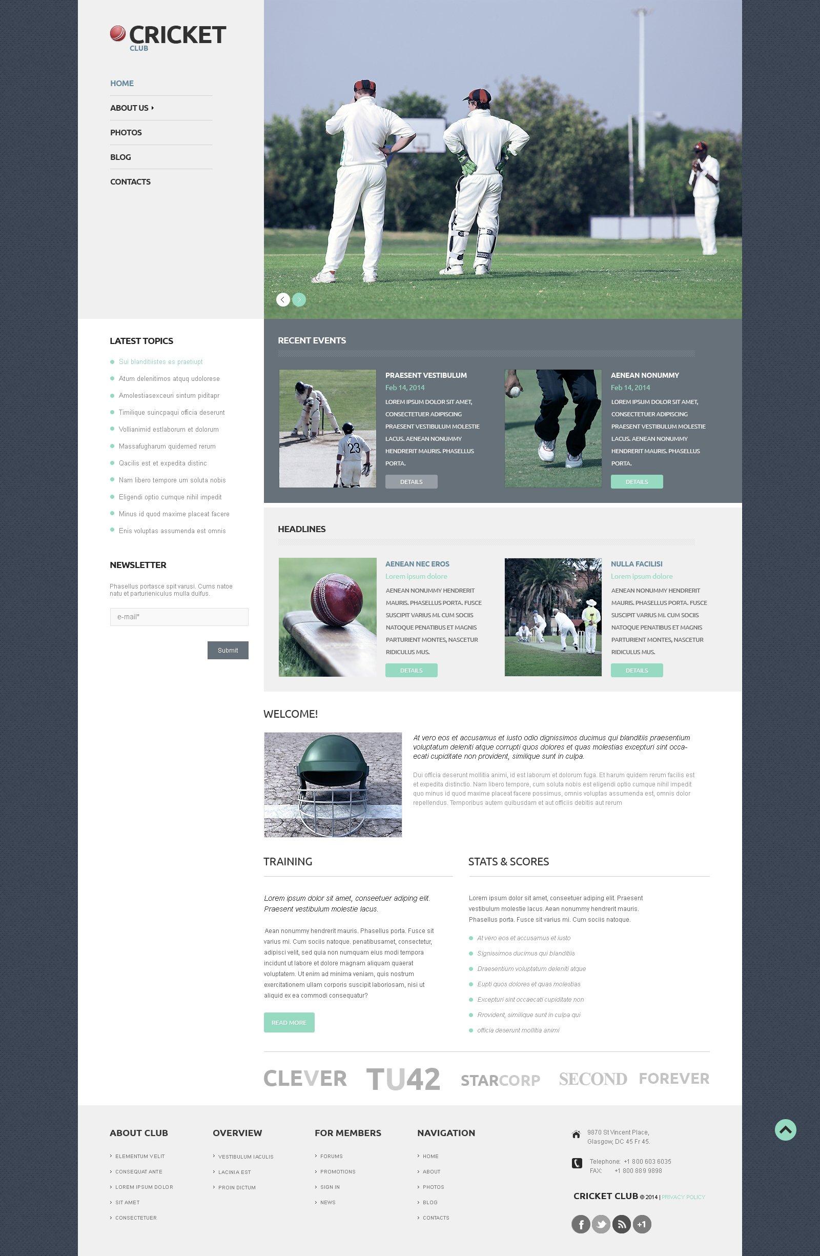 Thème WordPress adaptatif pour site de cricket #50121