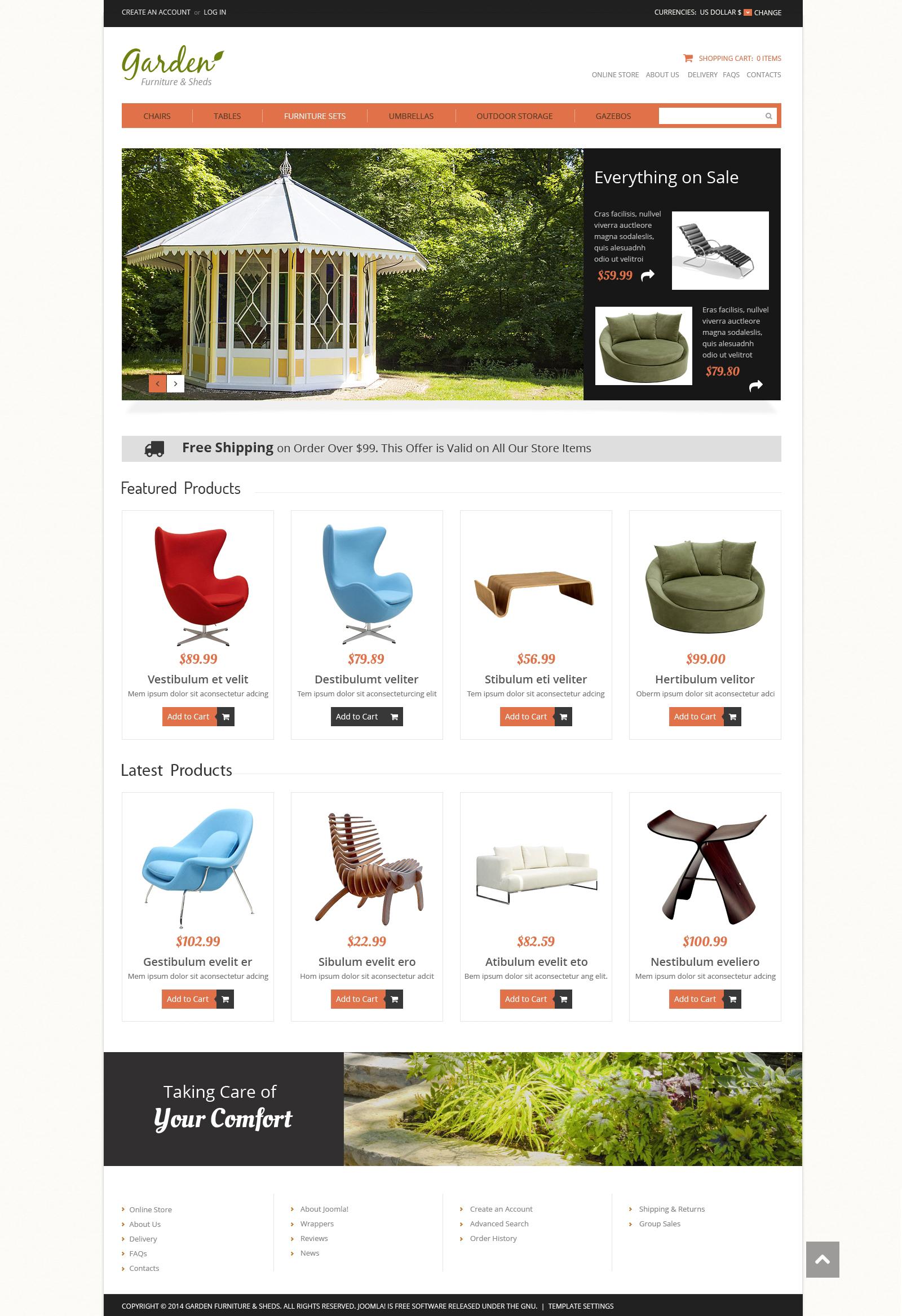 "VirtueMart Vorlage namens ""Gartenmöbel"" #50126 - Screenshot"