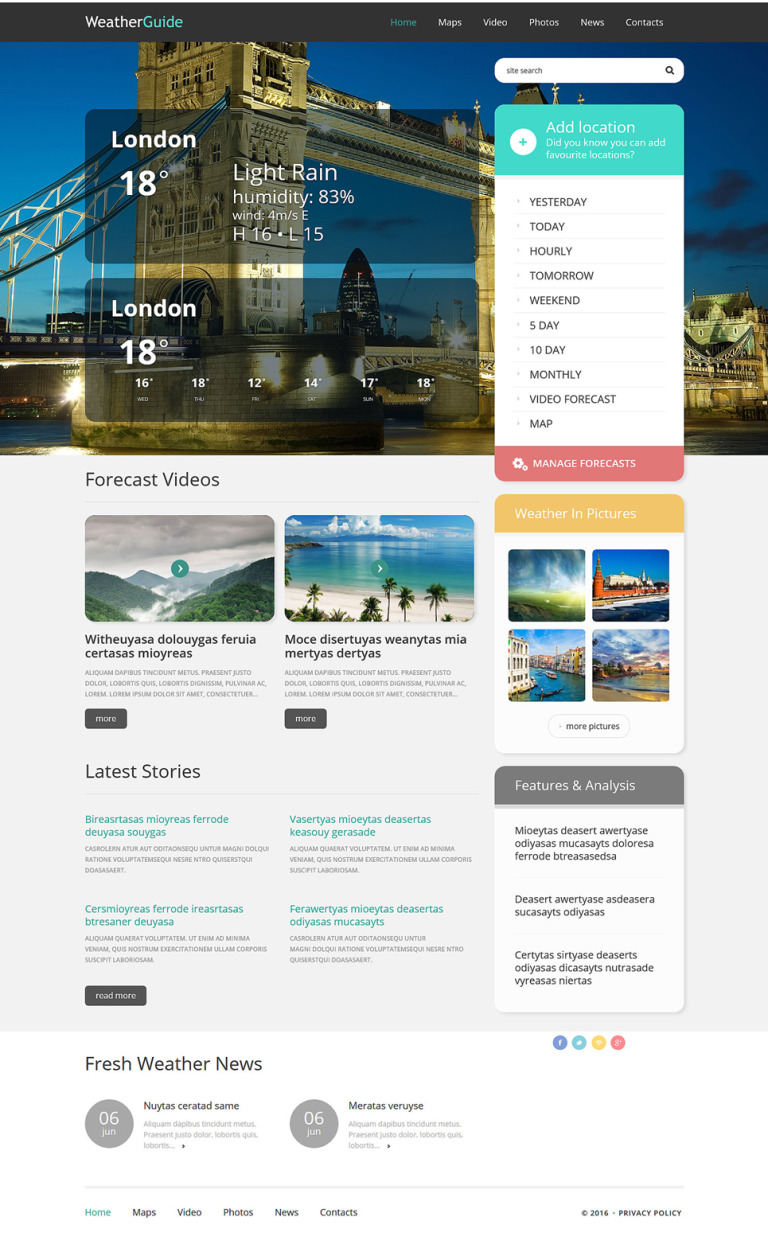 Weather Responsive WordPress Theme New Screenshots BIG