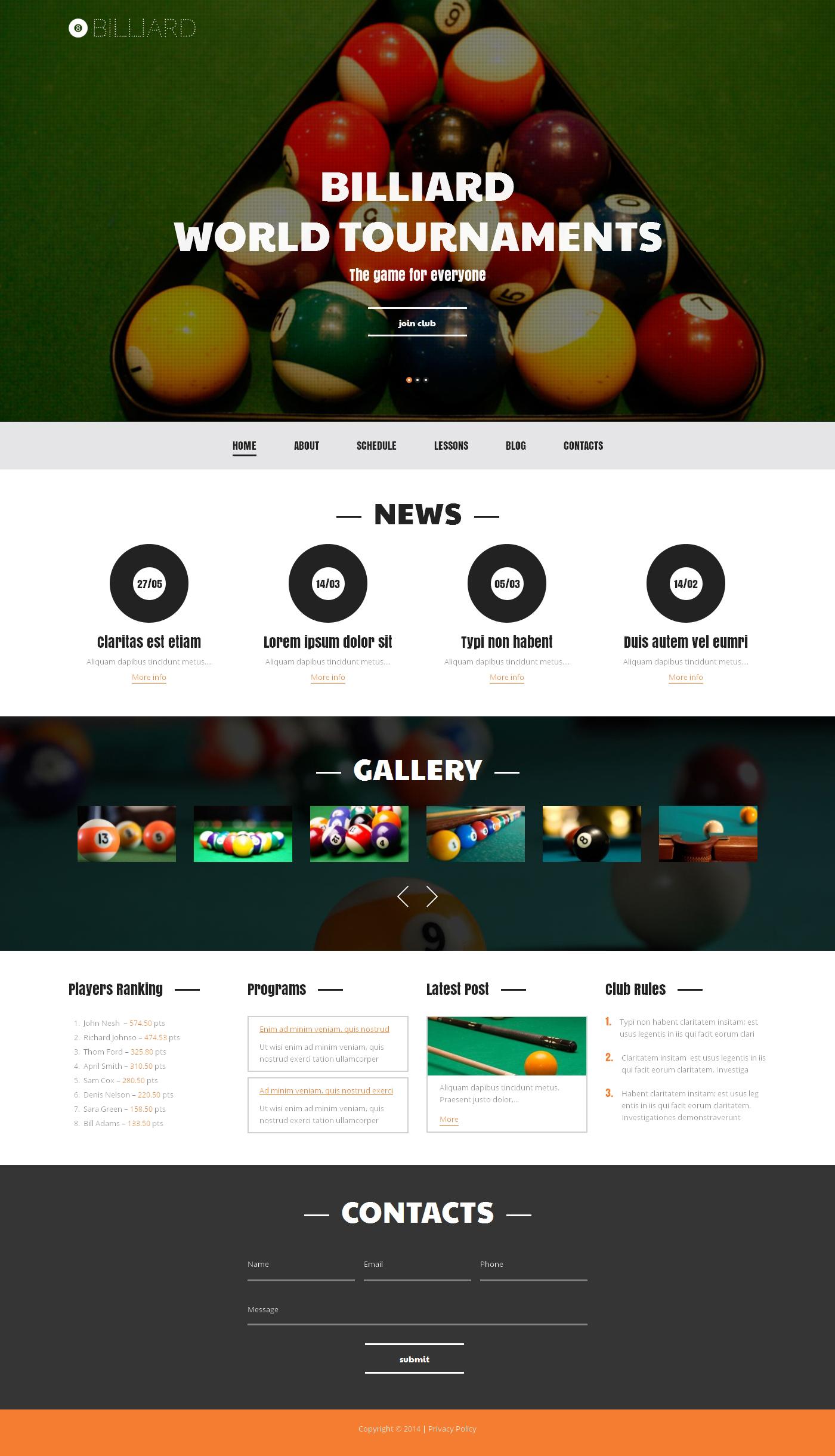 "WordPress Theme namens ""Billiard Club Tournaments"" #50106 - Screenshot"