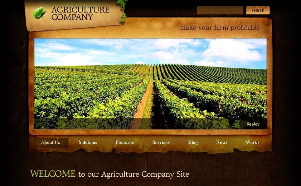 Plantilla PSD #50263 para Sitio de Agricultura New Screenshots BIG