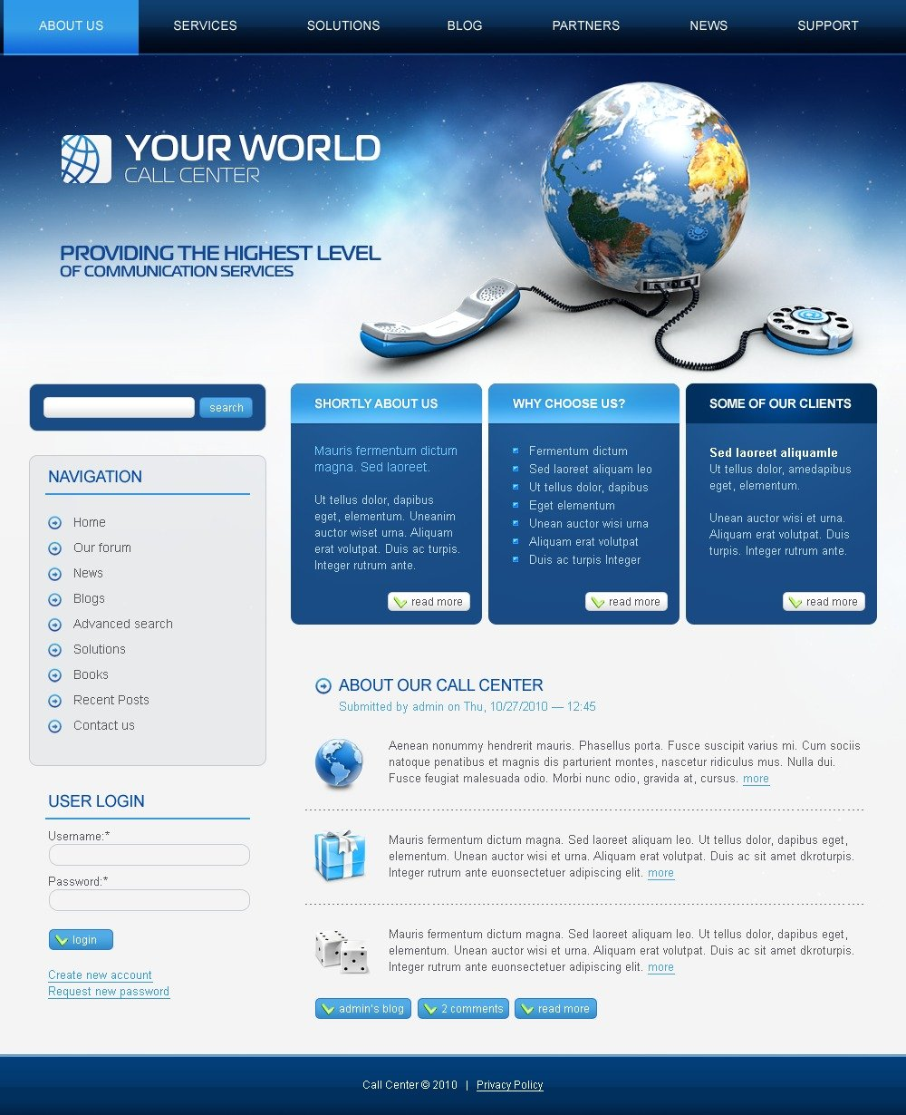 Call Center PSD Template