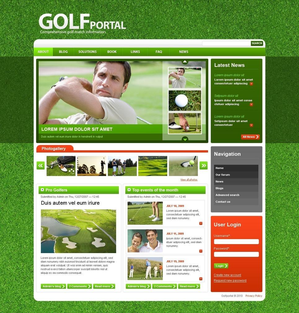 Golf PSD Template New Screenshots BIG