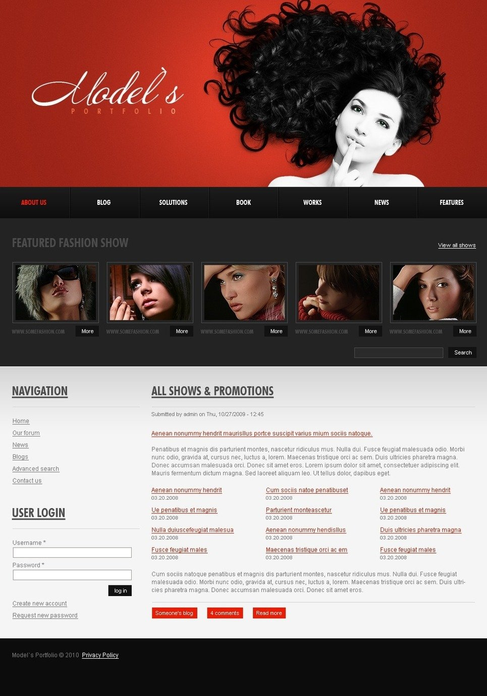Model Portfolio PSD Template New Screenshots BIG