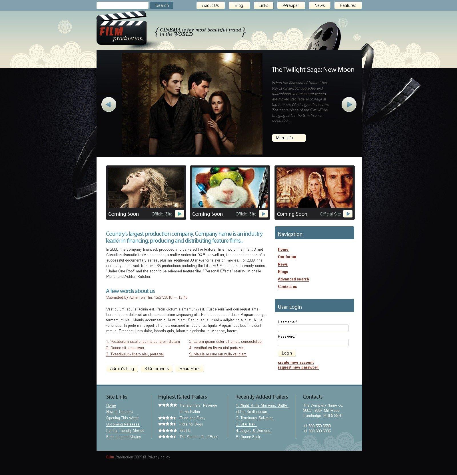 Movie PSD Template