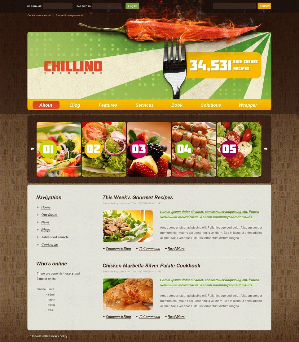 Plantilla psd 50215 para sitio de cocina for Plantillas de cocina