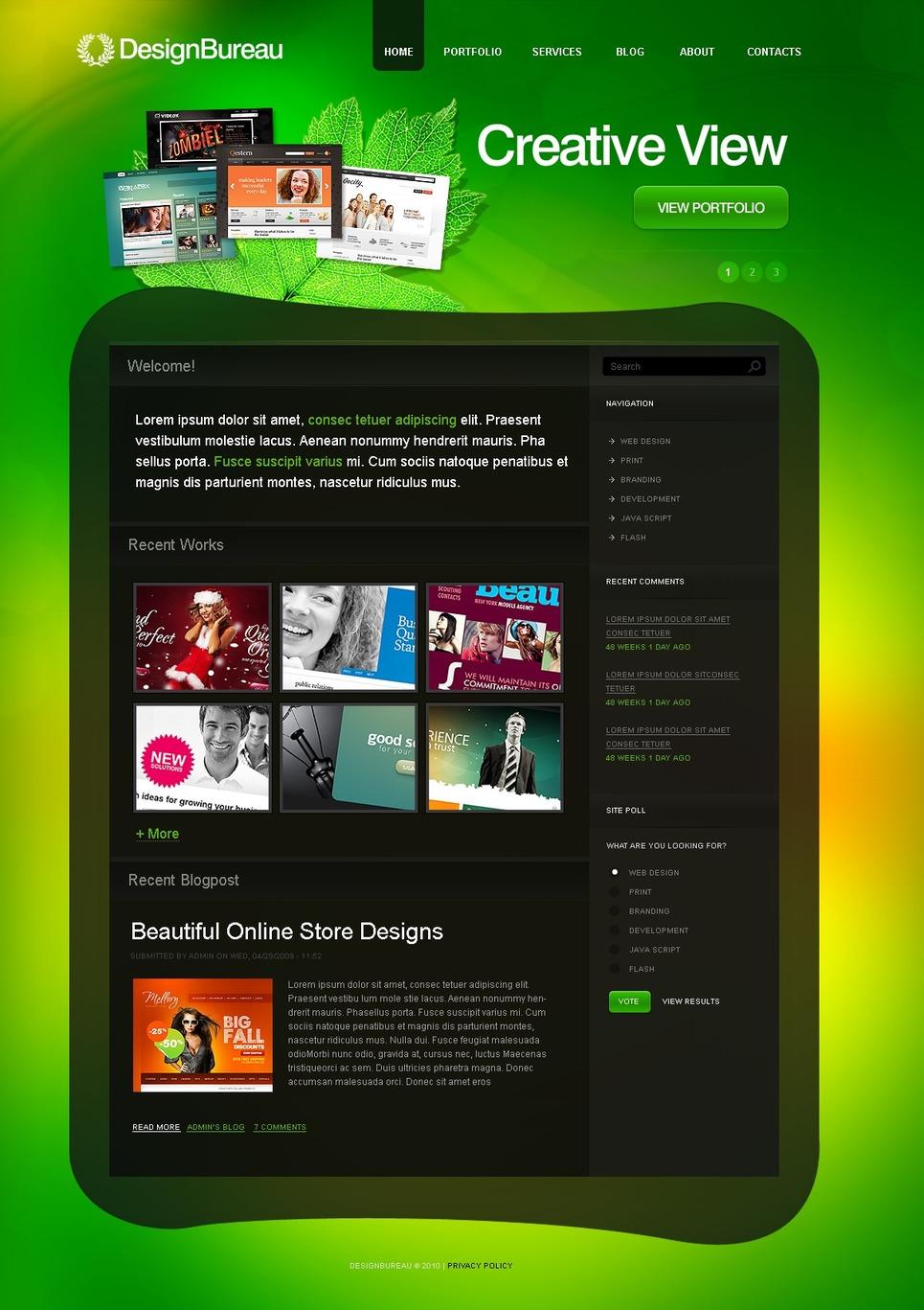 Tema psd 50295 per un sito di design studio for Sito di design