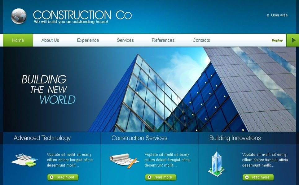 Plantilla PSD #50335 para Sitio de Empresa de construcción New Screenshots BIG