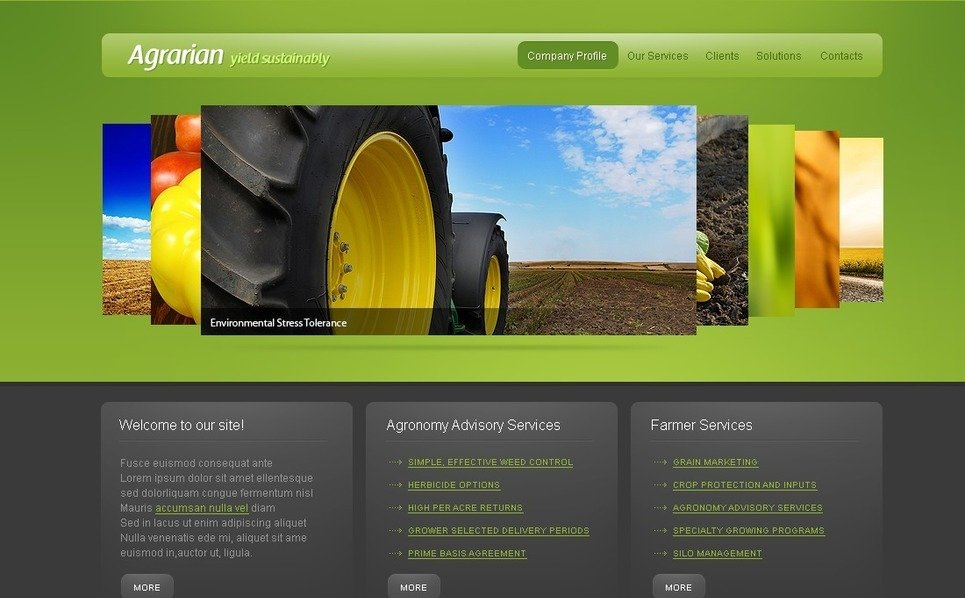 Plantilla PSD #50340 para Sitio de Agricultura New Screenshots BIG