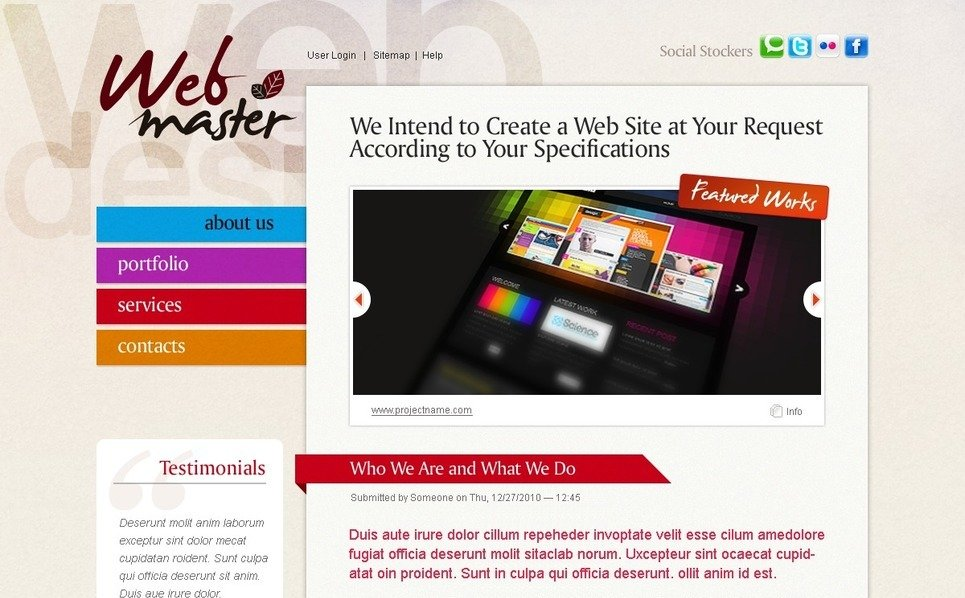 Szablon PSD #50364 na temat: web design New Screenshots BIG