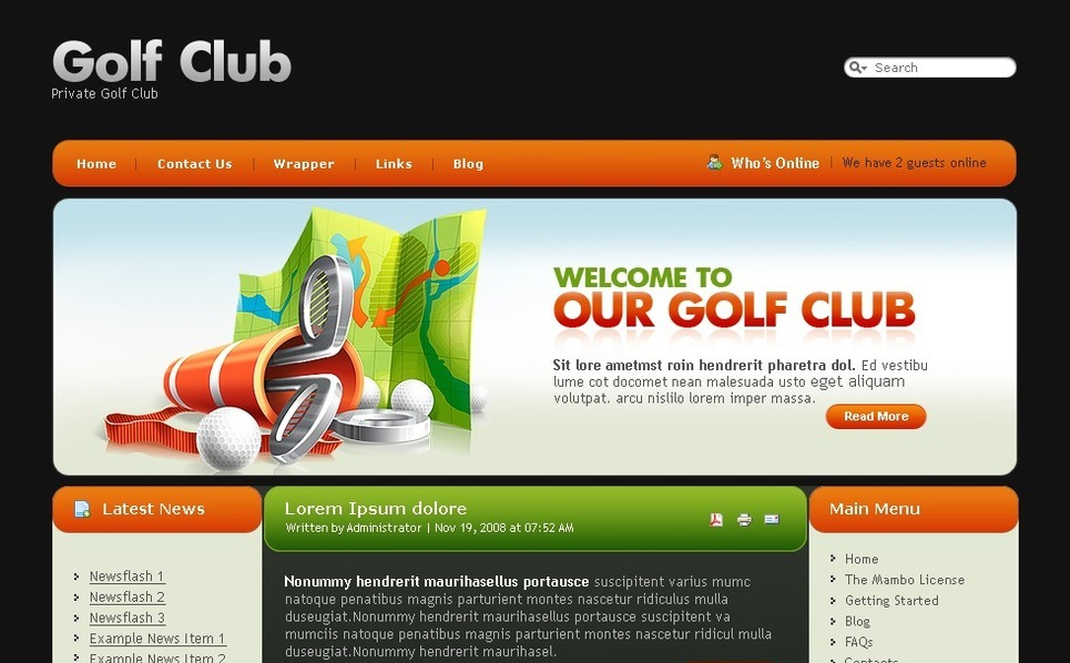 Plantilla PSD #50397 para Sitio de Golf New Screenshots BIG