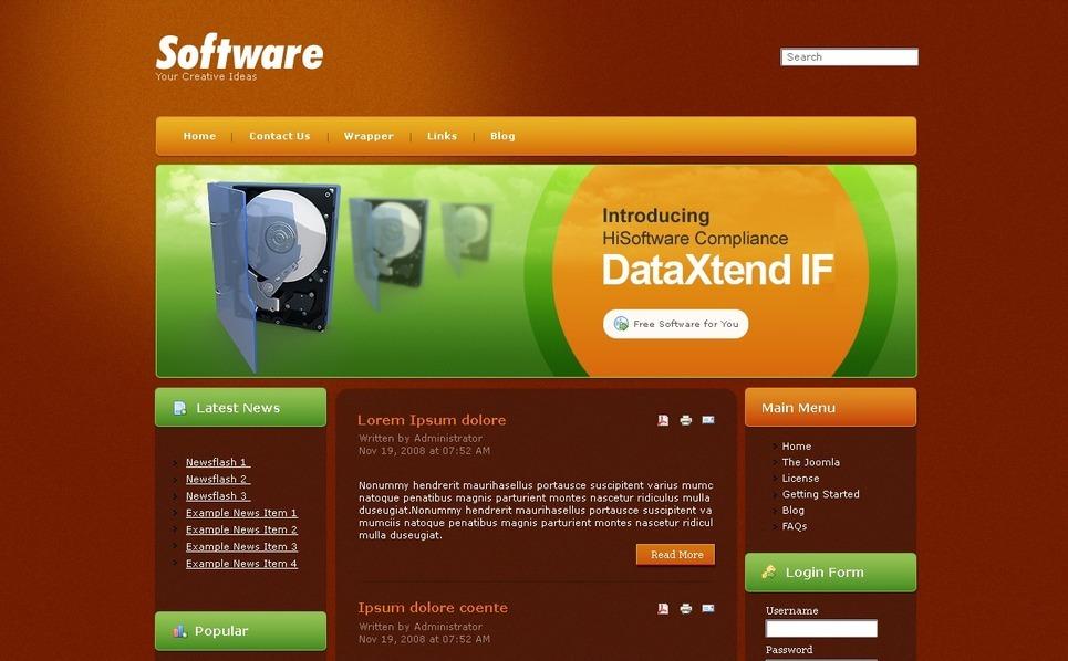 Plantilla PSD #50398 para Sitio de Empresa de software New Screenshots BIG