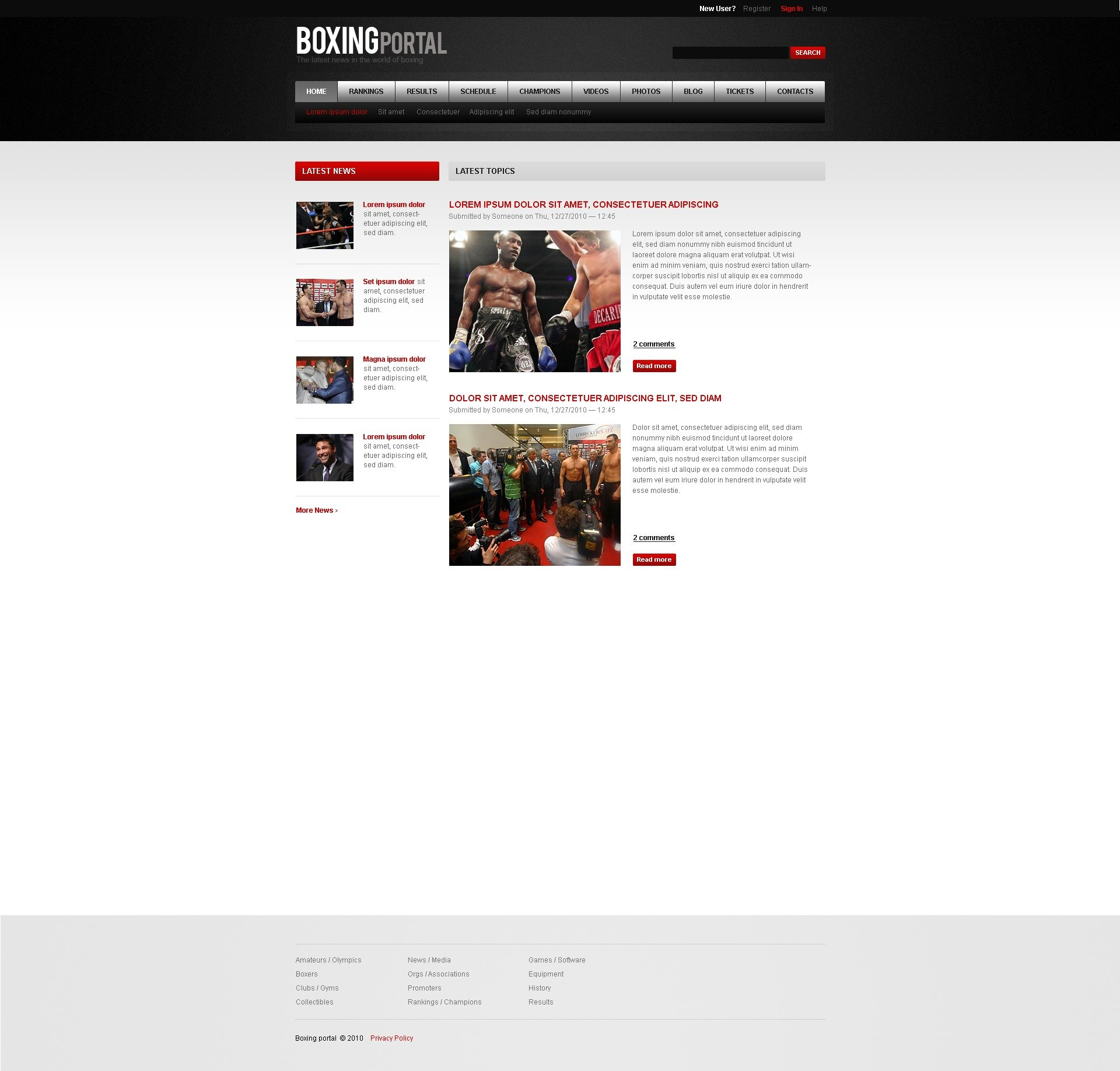 Boxing PSD Template