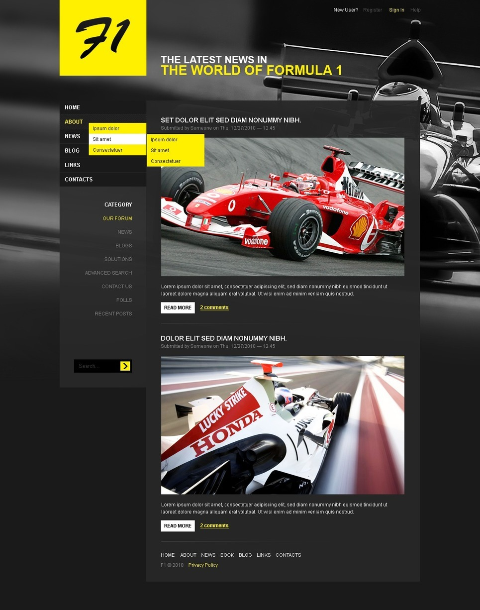 Car Racing PSD Template New Screenshots BIG