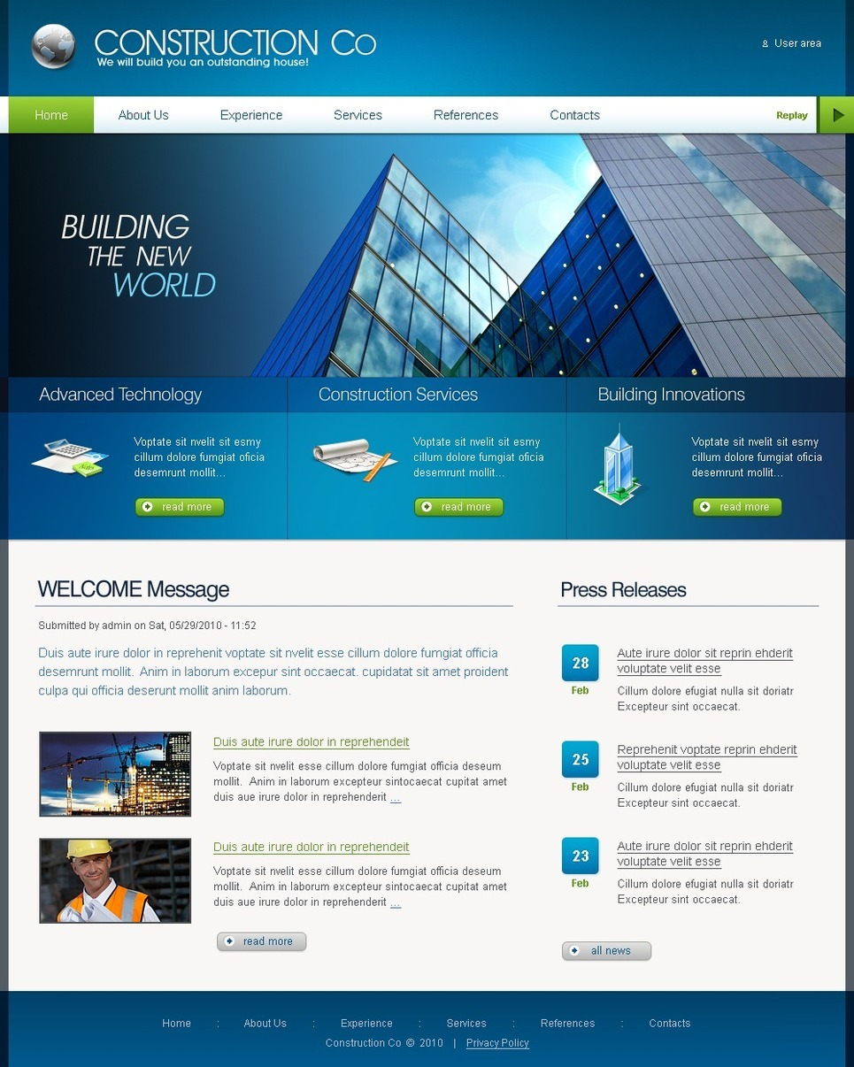 Construction Company PSD Template New Screenshots BIG