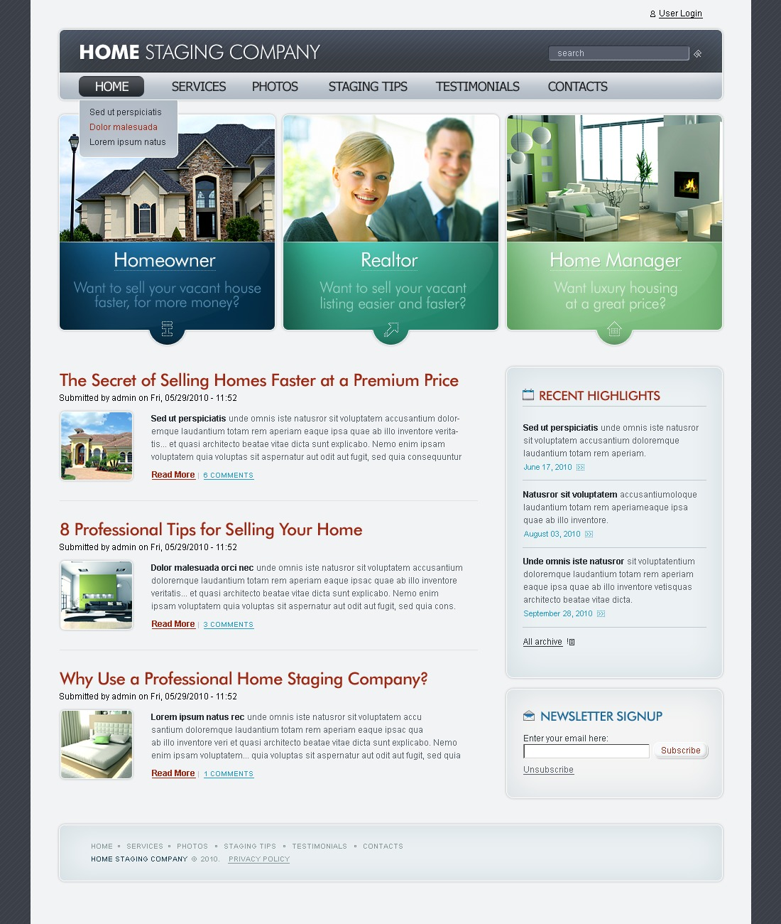 Home Staging PSD Template