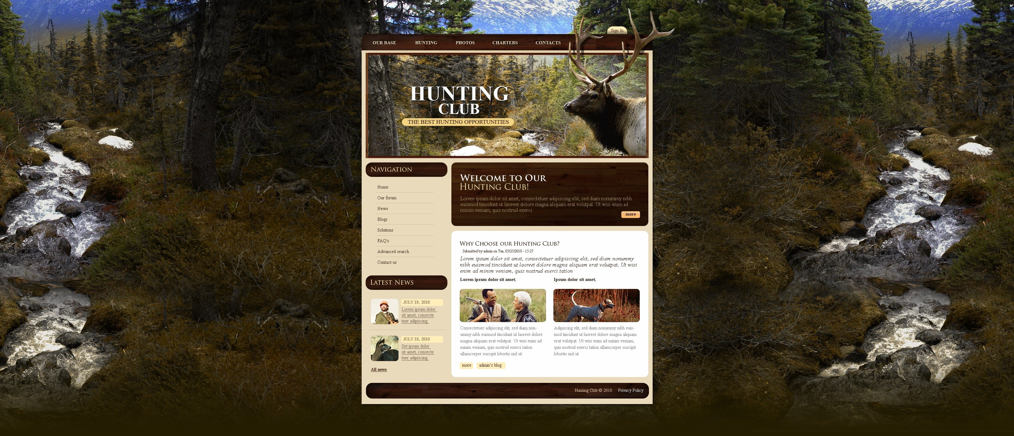 Hunting PSD Template